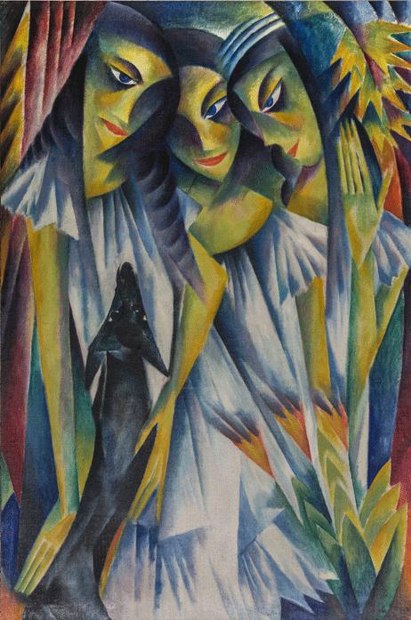 Adolf de Haer. Drei Mädchen mit Hund. 1919. Öl / Leinwand