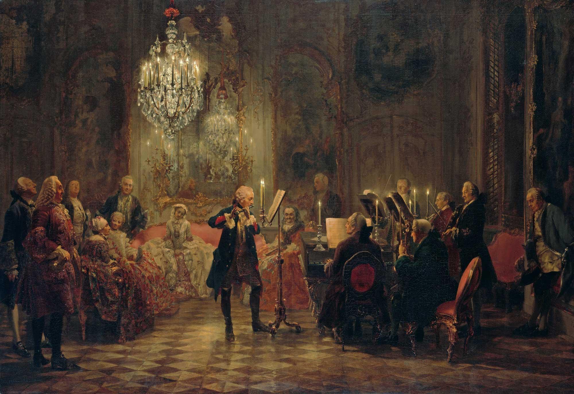 Adolph Menzel . Das Flötenkonzert von Friedrich der Große