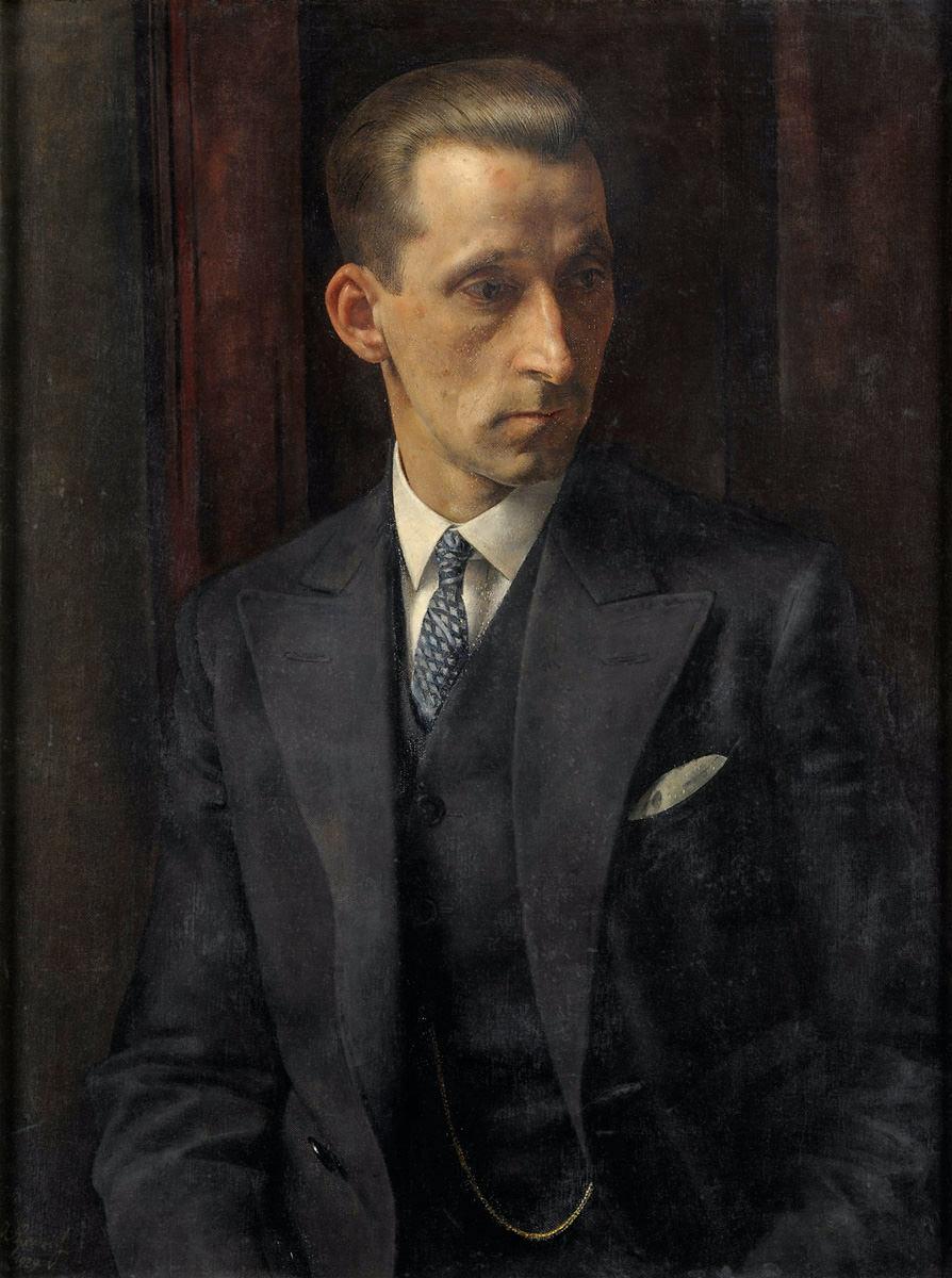 Albert Heinrich. Portrait eines Herren im eleganten Anzug. 1929. Öl / Leinwand