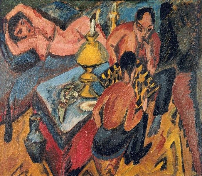 Ernst Ludwig Kirchner. Ernst Heckel und Otto Mueller spielen Schach. 1913. Öl / Leinwand