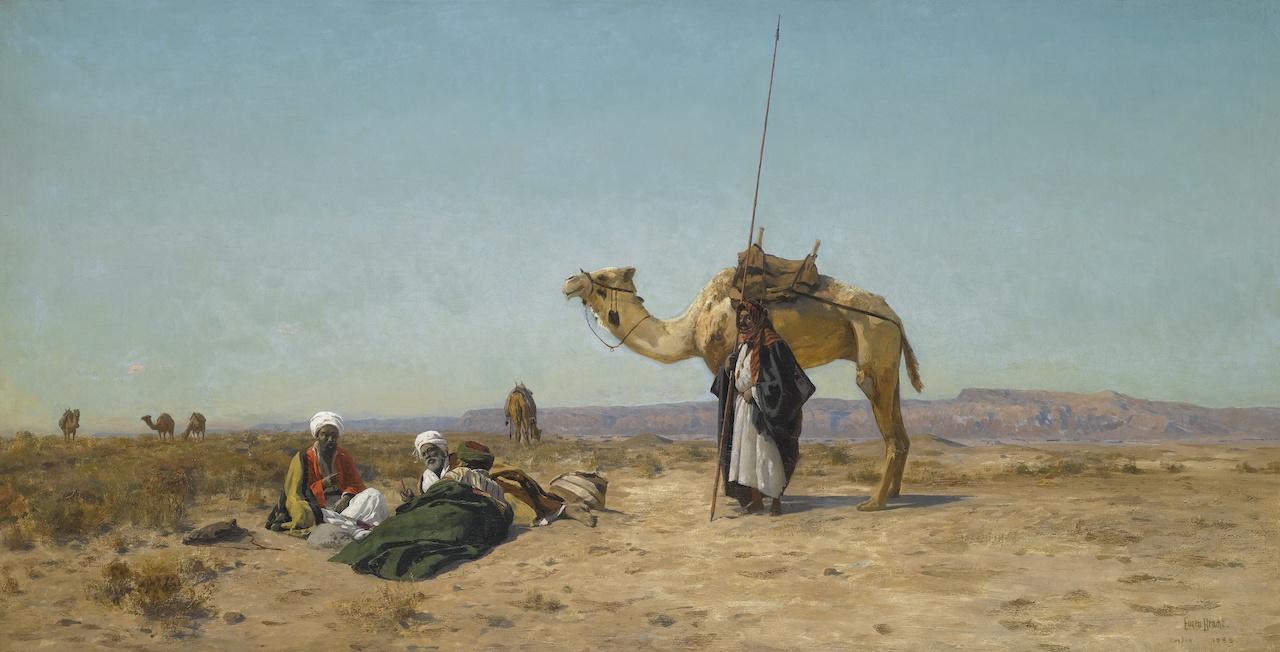 Eugen Bracht. Rast in der syrischen Wüste. 1883. Öl / Leinwand. 65 x 125cm