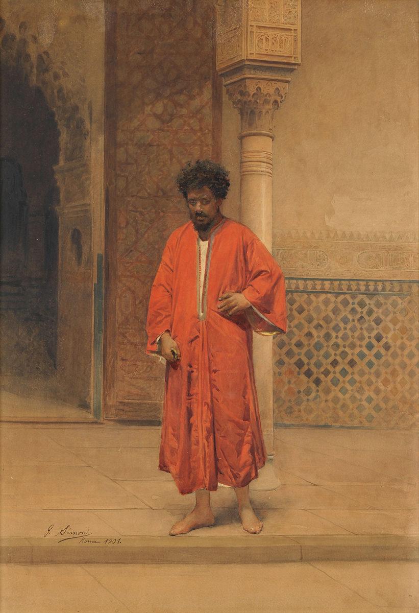 Gustavo Simoni . Vor dem Eingang der Alhambra . 1901 . Aquarell . 76 x 53 cm
