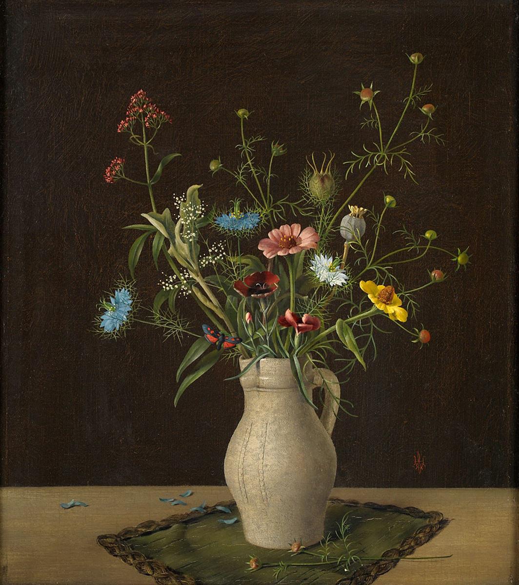 Herbert Böttger. Blumen im Tonkrug. 1932. Öl / Leinwand. 44,5 x 38,5cm