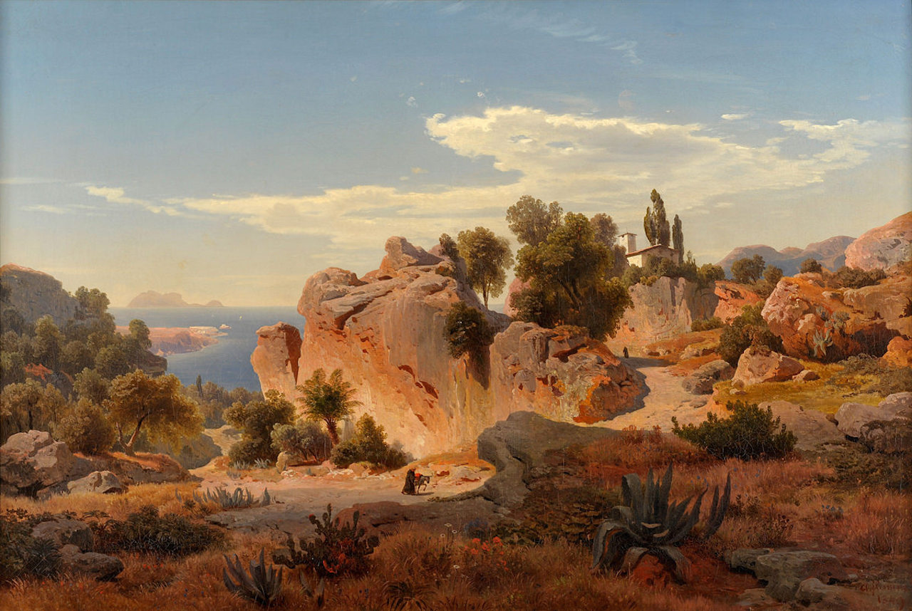 Albert Flamm. Capri.1849. Öl / Leinwand. 70 x 105cm