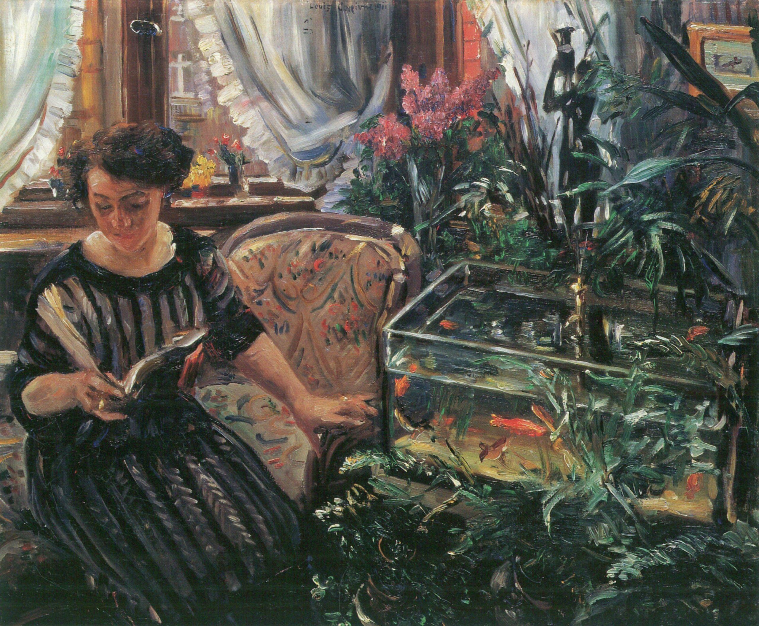 Lovis Corinth. Dame am Goldfischbassin. 1911. Öl / Leinwand