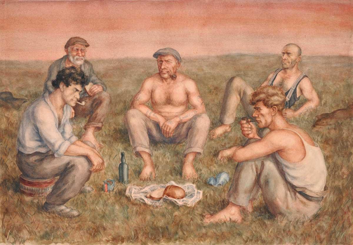 Otto Griebel . Das Vagabundenmahl . Aquarell auf Papier . 48 x 68,8 cm