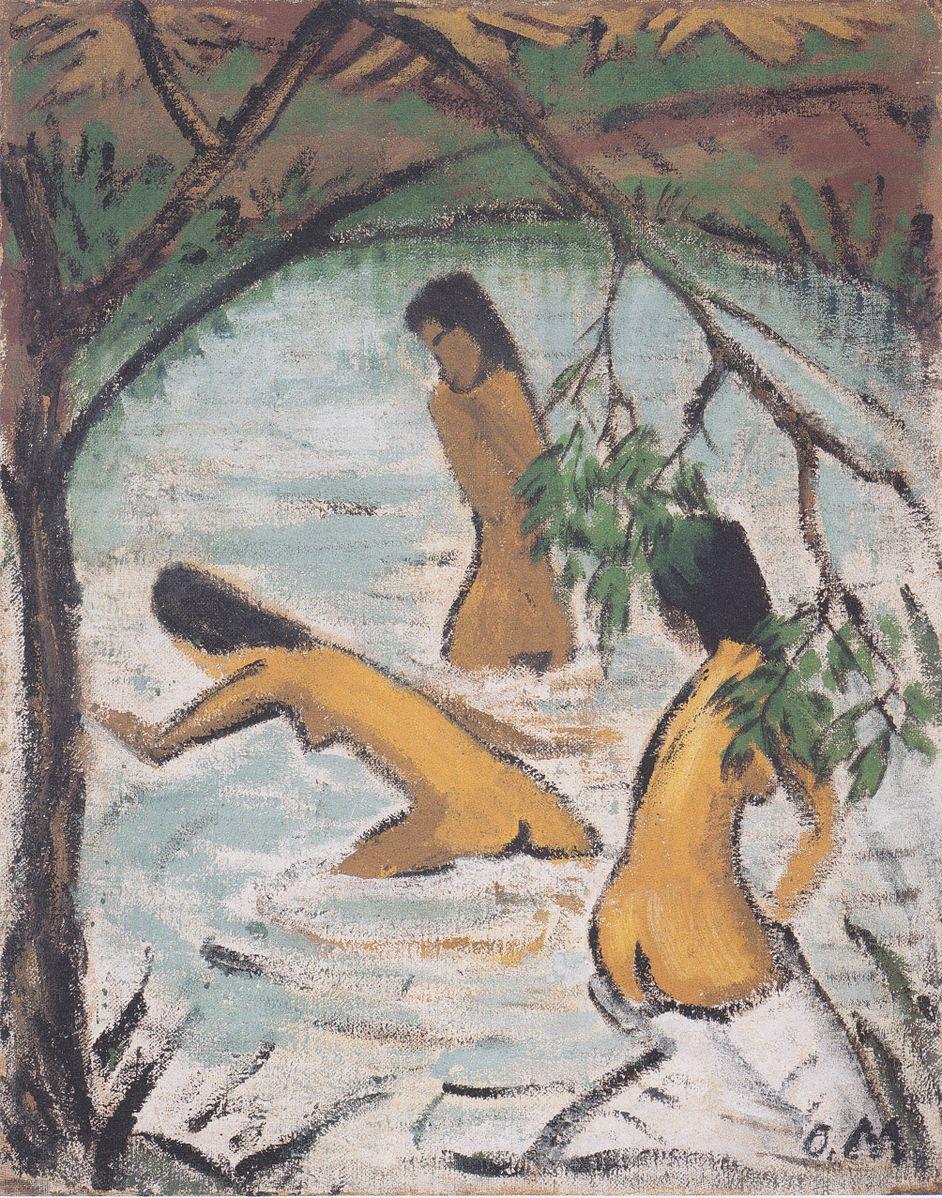 Otto Mueller. Drei badende im Wasser. 1913. Öl / Leinwand. 121 x 95cm