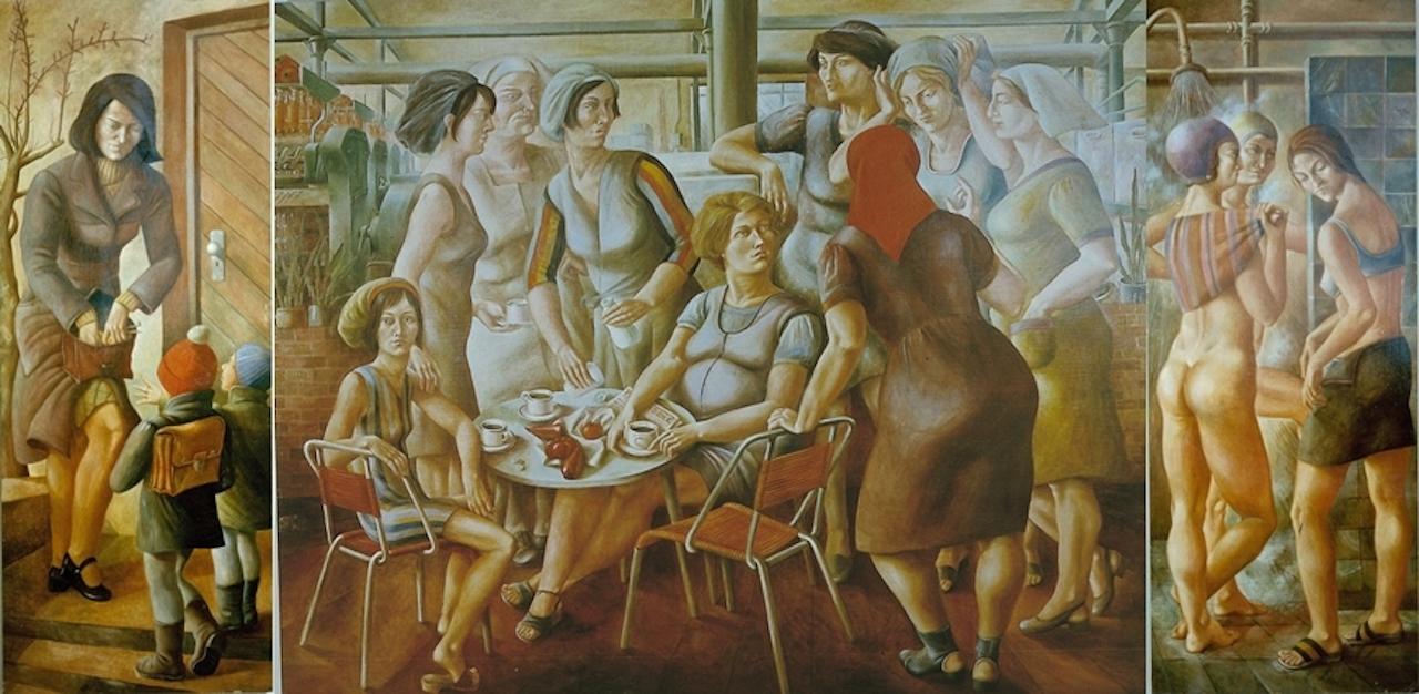 Petra Flemming. Triptychon Frauen. 1974. Öl / Leinwand. 180 x 340cm