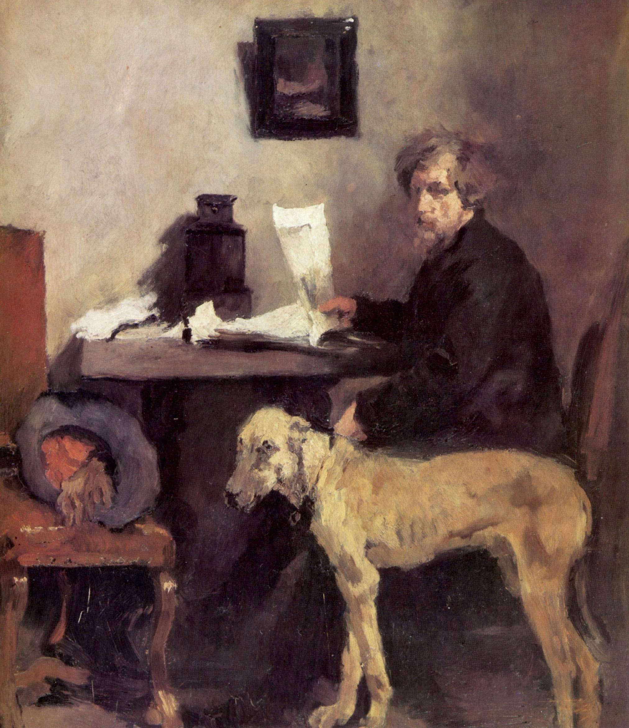 Wilhelm Maria Hubertus Leibl . Der Maler Sattler mit Dogge . Öl /Leinwand . 71,7 x 62,2 cm