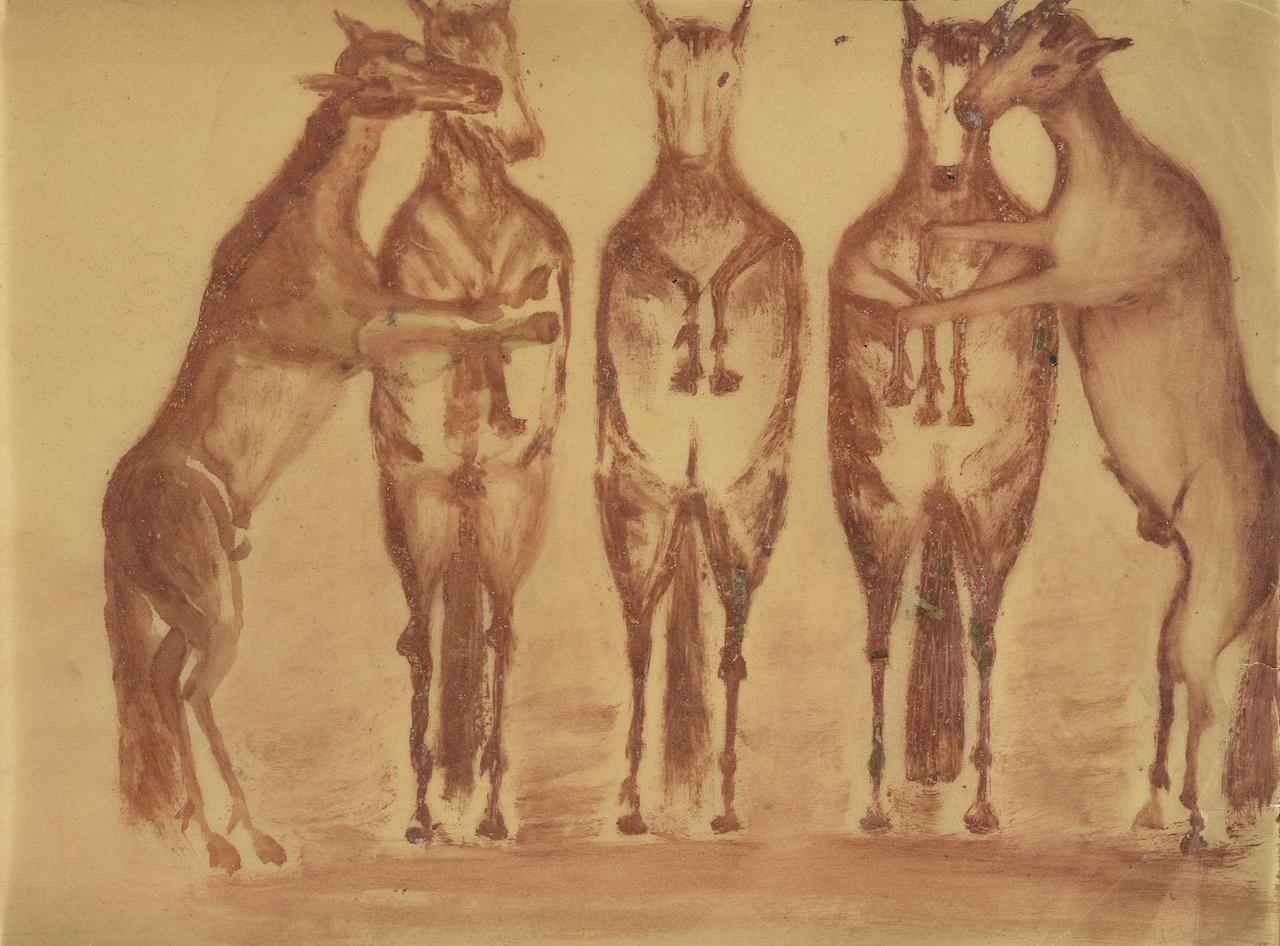 Adalbert Trillhaase. Pferde. Zeichnung und Aquarell. 20,5 x 28cm