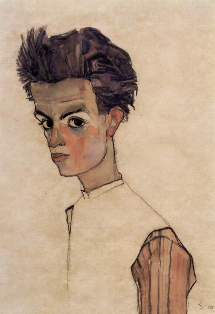 Egon Schiele. Selbstportrait. 1910. Öl und Gouache / Leinwand. 44 x 30,5cm