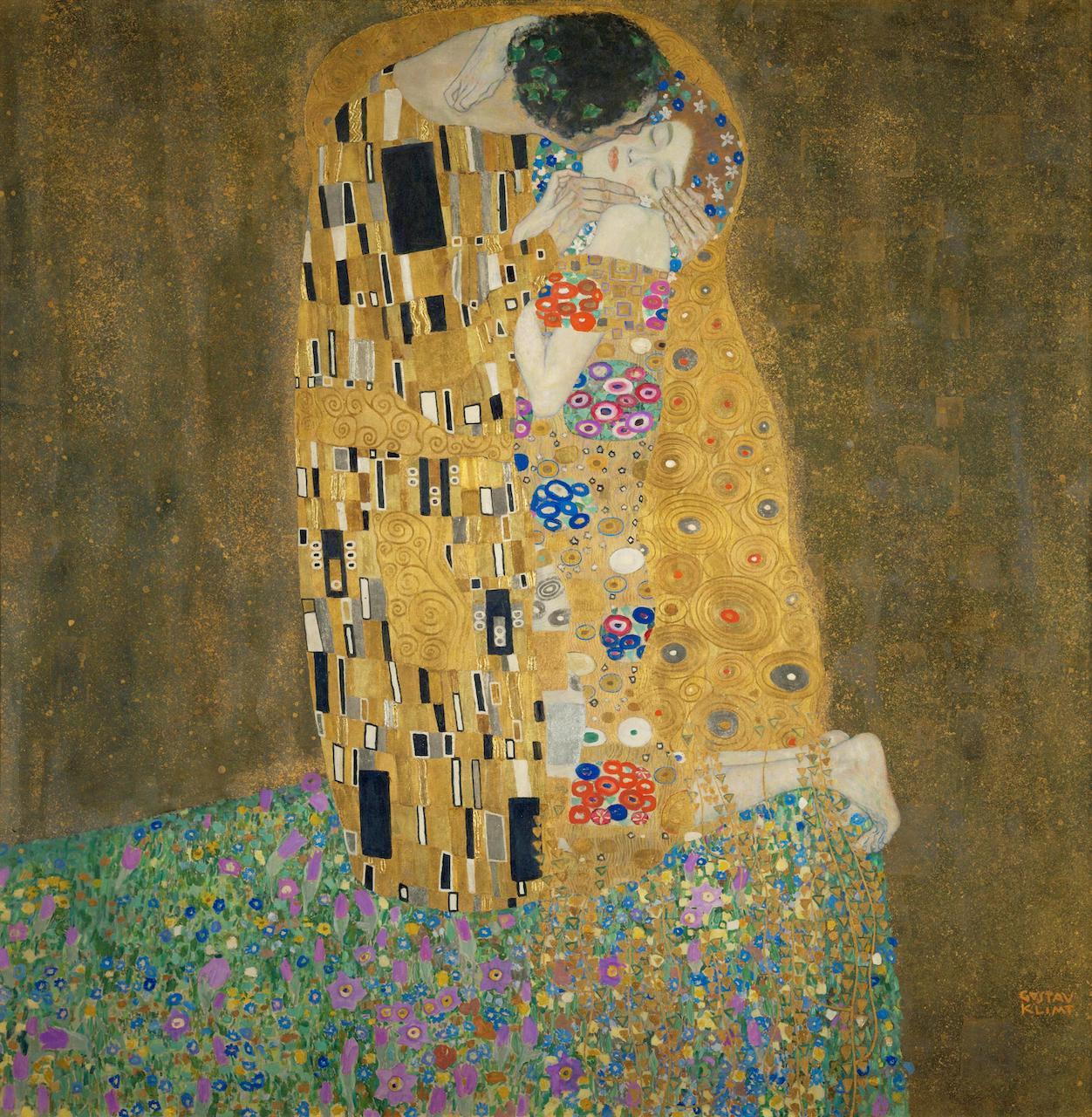 Gustav Klimt. Der Kuss. 1907/1908. Öl / Leinwand. 180 x 180cm