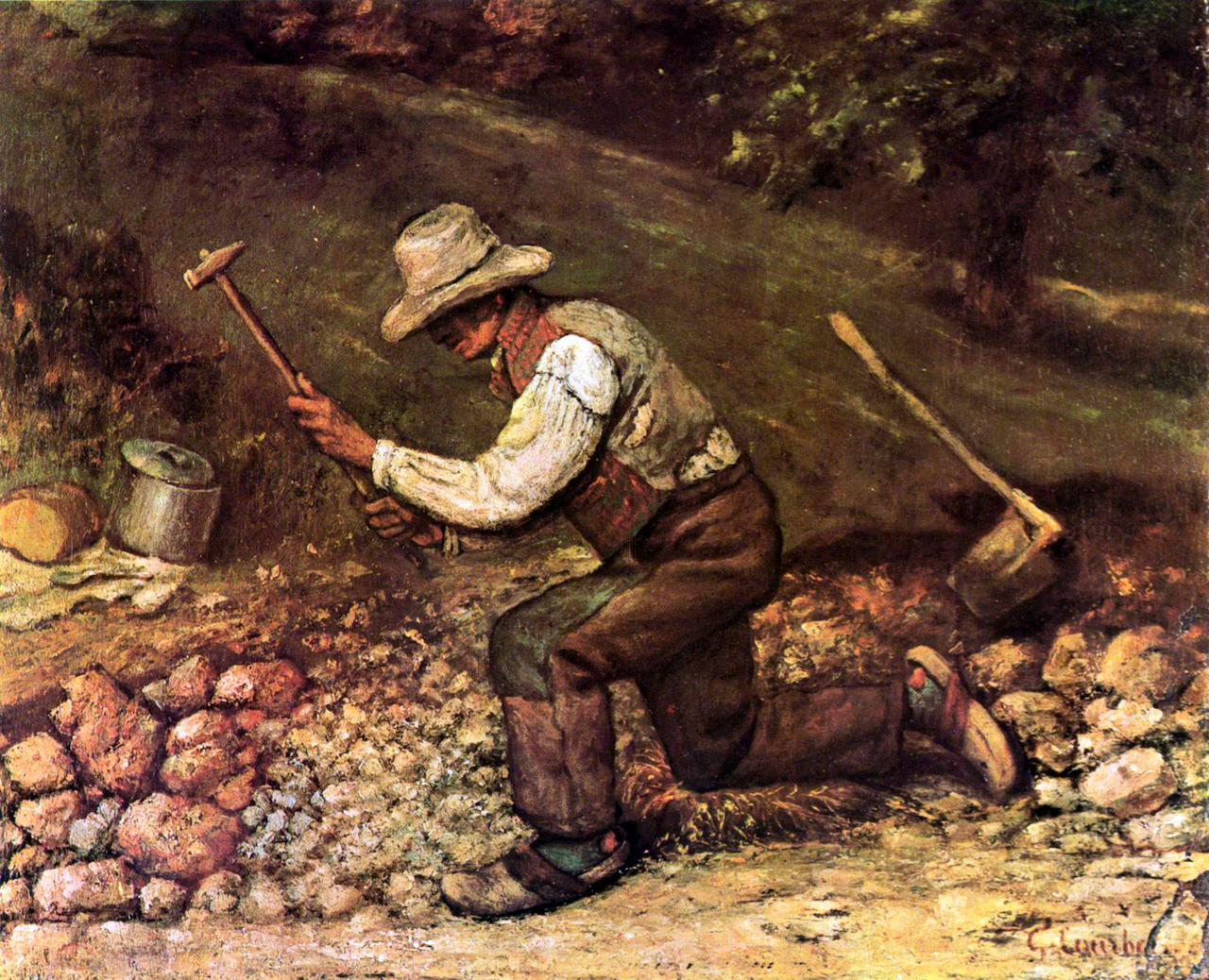 Gustave Courbet. Der Steinhauer. 1849. Öl / Leinwand. 45 x 54,5cm