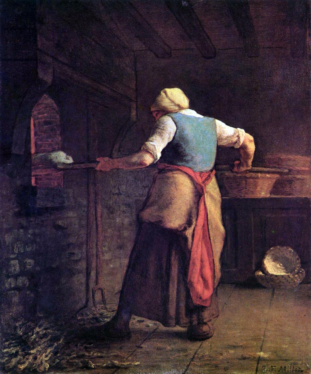 Jean-Francois Millet. Brot backende Frau. 1854. Öl / Leinwand. 55 x 46cm