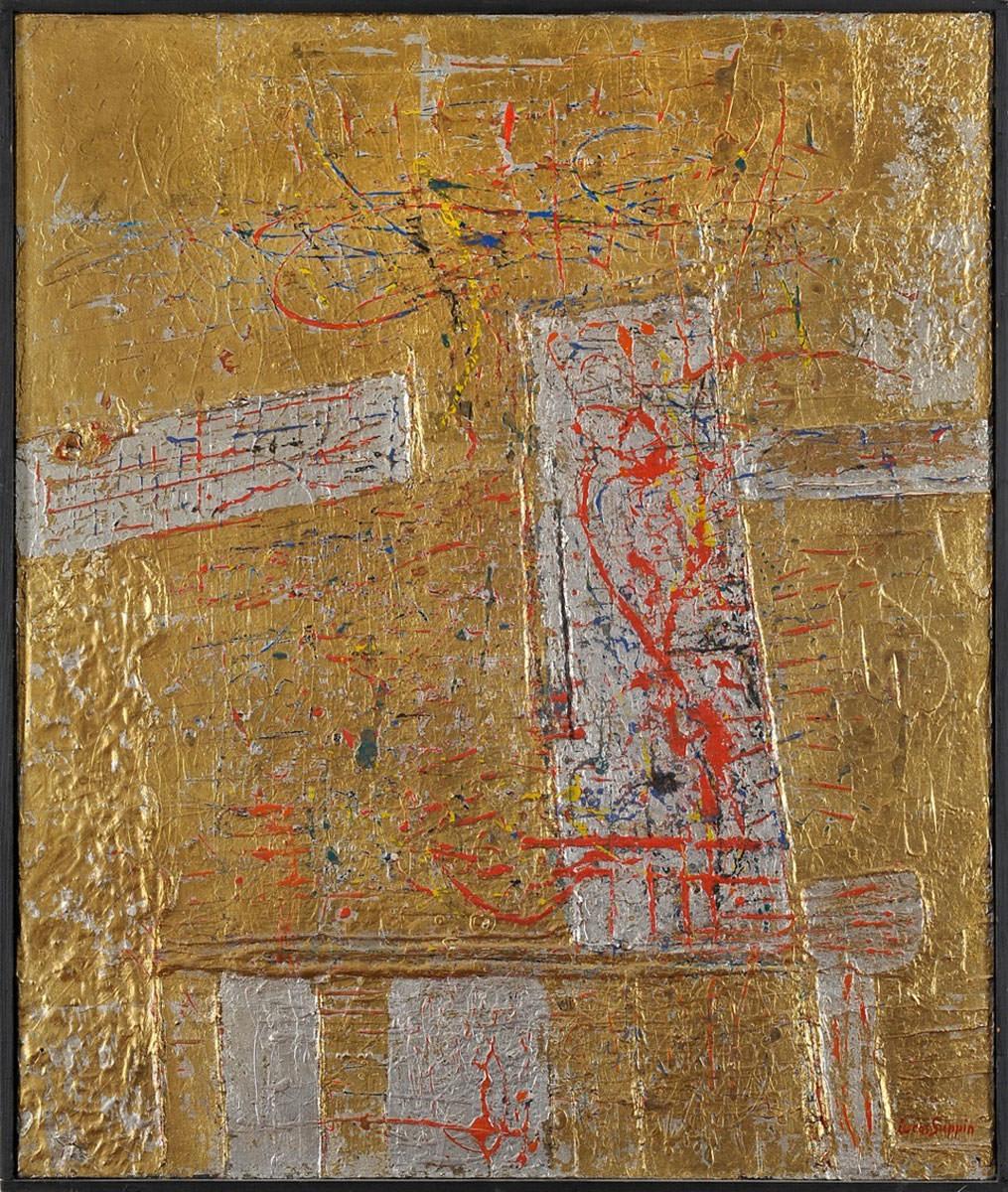 Lucas Suppin. Komposition in Gold. um 1964. Öl / Holz. 86 x 73cm
