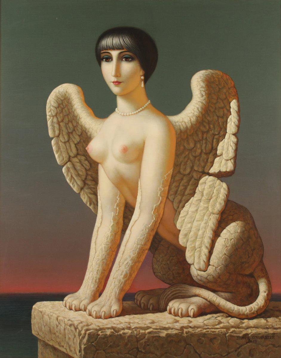 Ludwig Schwarzer. Metamorphose. 1975. Öl / Platte. 118 x 94cm