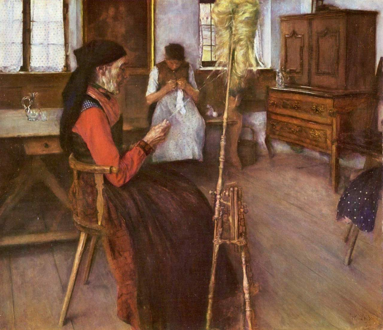 Wilhelm Leibl. Die Spinnerin. 1892. Öl / Leinwand. 65 x 74cm