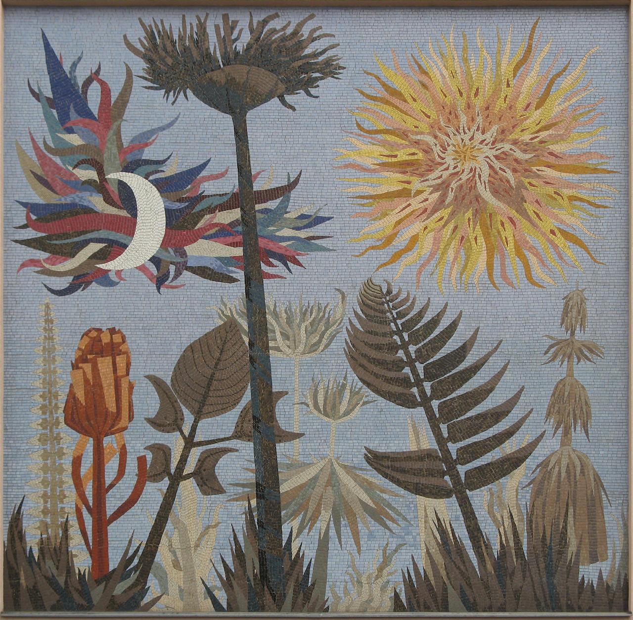 Wolfgang Hutter. Mosaik Pflanzen und Gestirne. 1958. Buchengasse, Wien.Von Buchhändler - Eigenes Werk, CC BY-SA 3.0, https://commons.wikimedia.org/w/index.php?curid=7140735