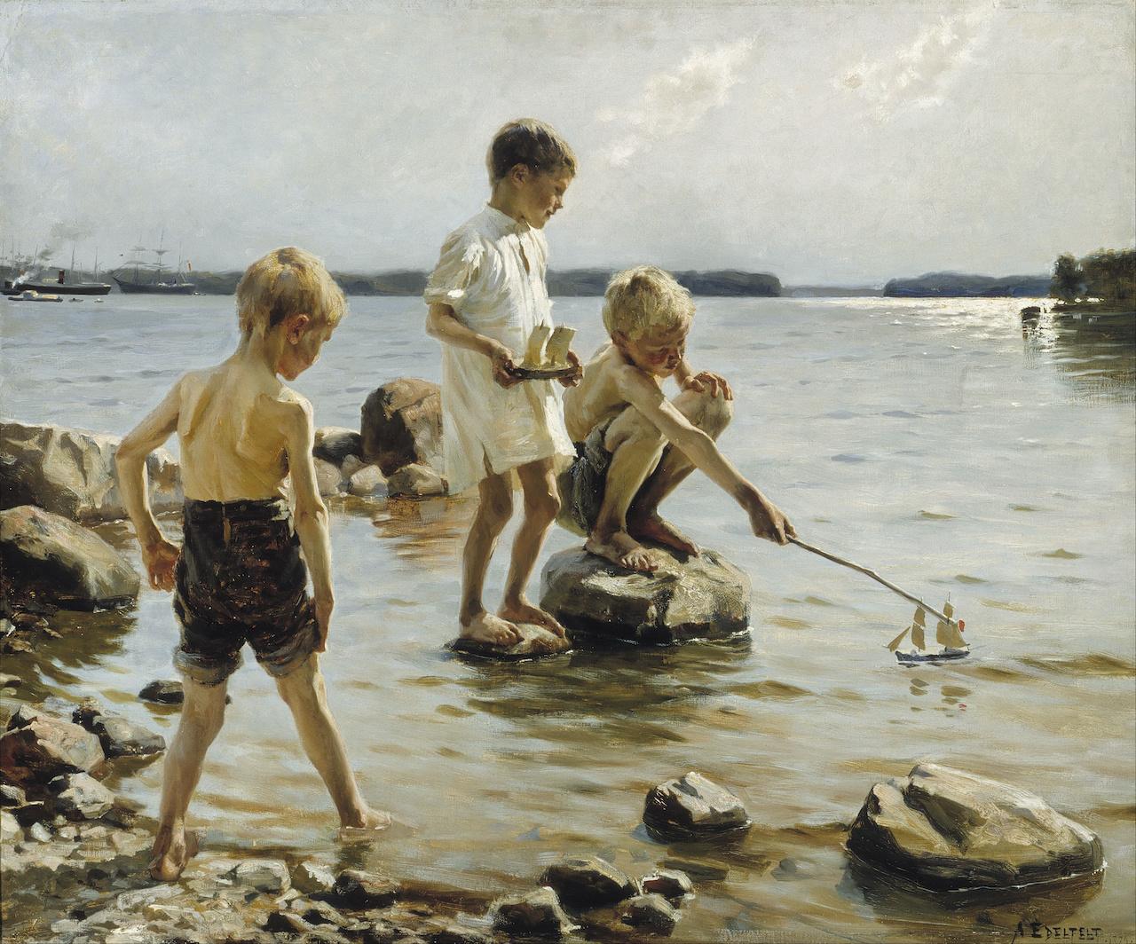 Albert Edelfetl. Boys playing on the Shore. 1884. Öl / Leinwand. 90 x 107,5cm