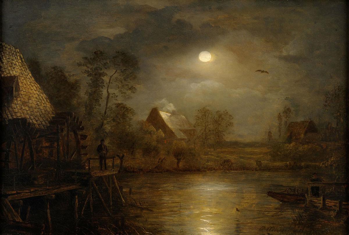 Andreas Achenbach. Wassermühle im Mondschein. 1879. ÖL / Leinwand. 44 x 65cm