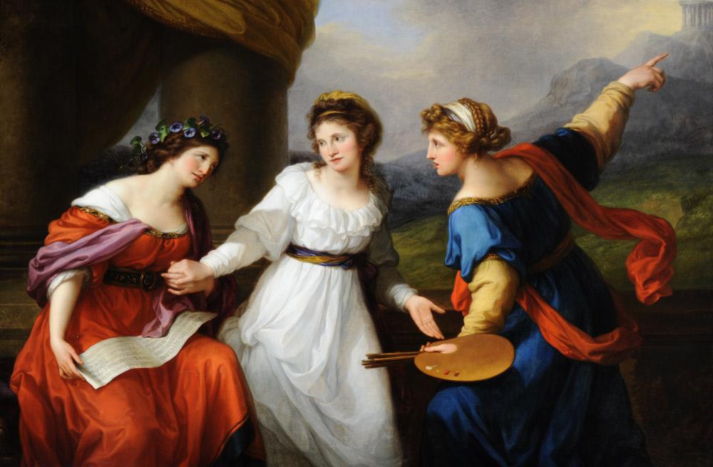Angelika Kauffmann. Selbstportrait am Scheideweg zwischen Musik und Malerei. 1791. Öl / Leinwand. 147 x 216cm