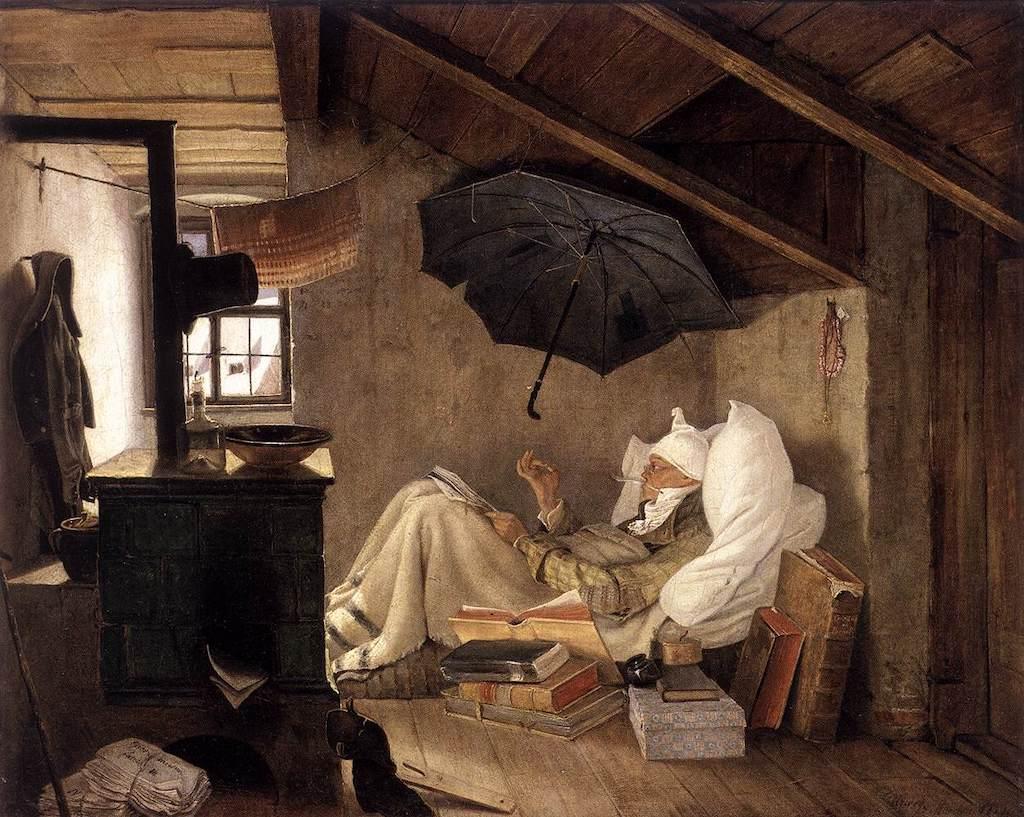 Carl Spitzweg. Der arme Poet. 1839. Öl / Leinwand. 36,3 x 44,7cm