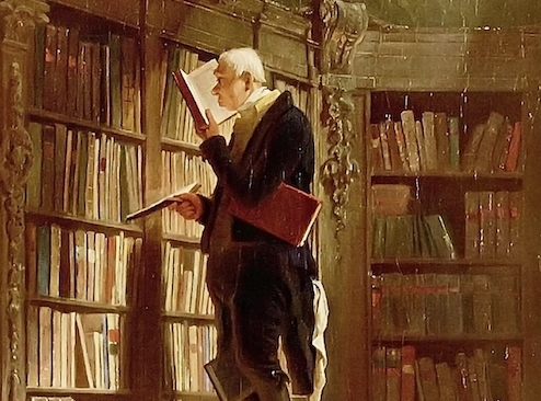 Carl Spitzweg. Der Bücherwurm. 1850. Öl / Leinwand. 49,5 x 26,8cm