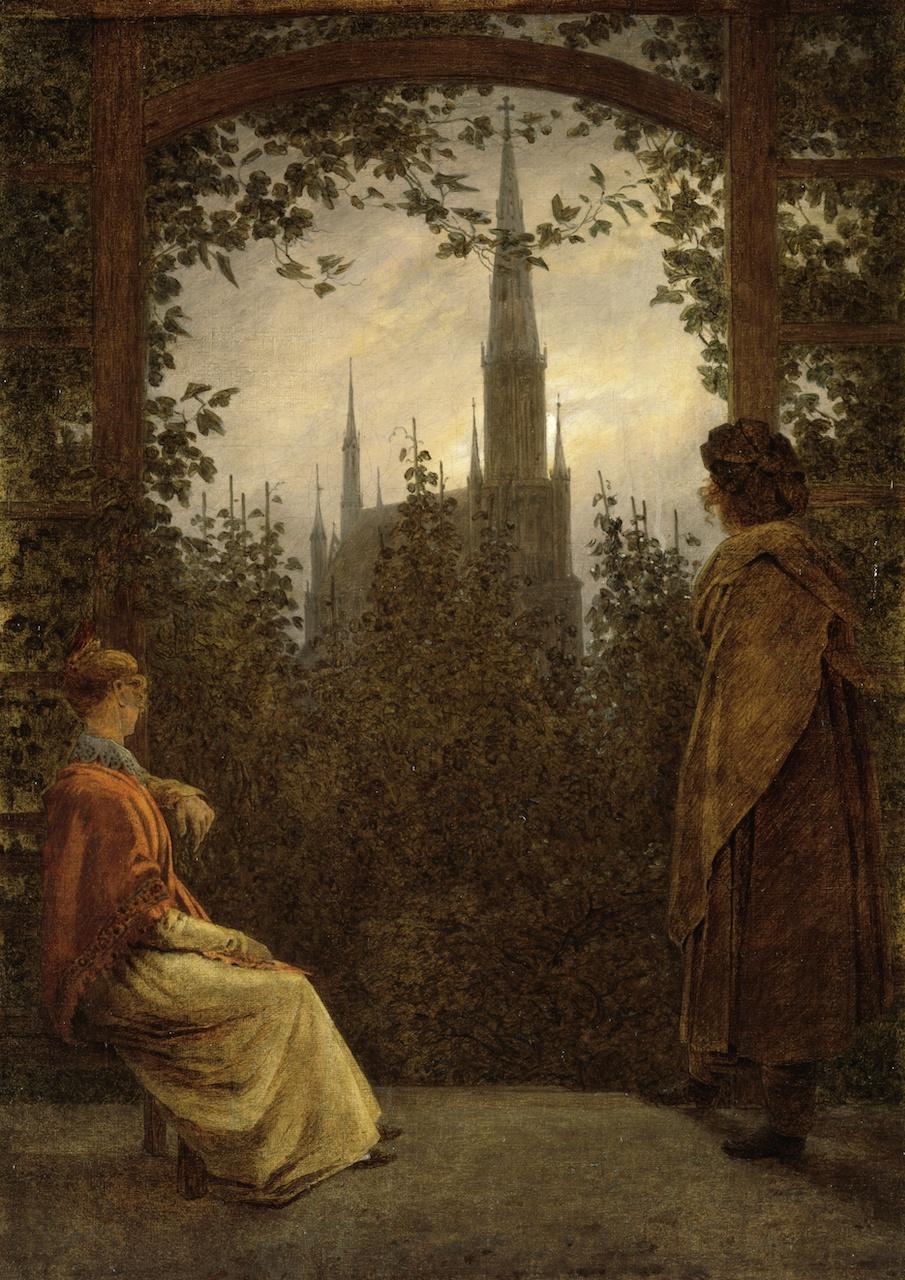 Caspar David Friedrich. Gartenlaube in Greifswald. 1818. Öl / Leinwand. 30 x 21,5cm