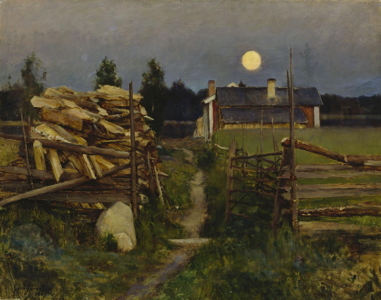 Eero Järnefelt: Summer night moon. 1889. Öl / Leinwand.62 x 79,5cm