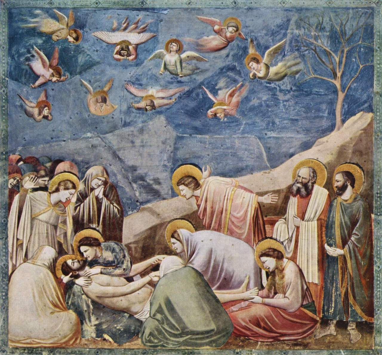 Giotto di Bondone. Beweinung Jesu Christi. 1304-06. Fresko.Cappella degli Scrovegni all'Arena, Padua