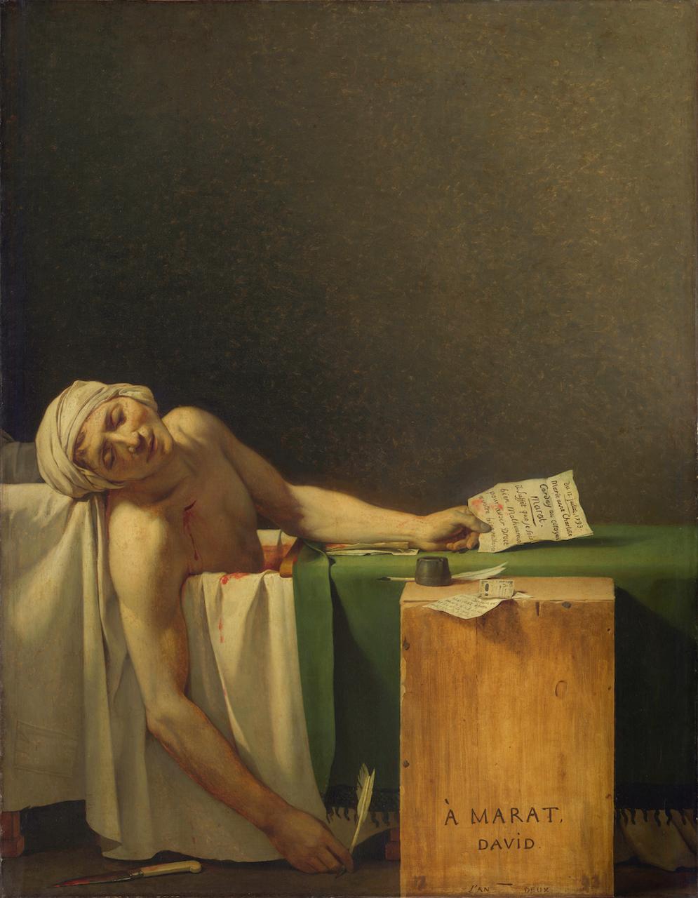 Jacques-Louis David. Tod des Marat. 1793. Öl / Leinwand. 165 x 128cm