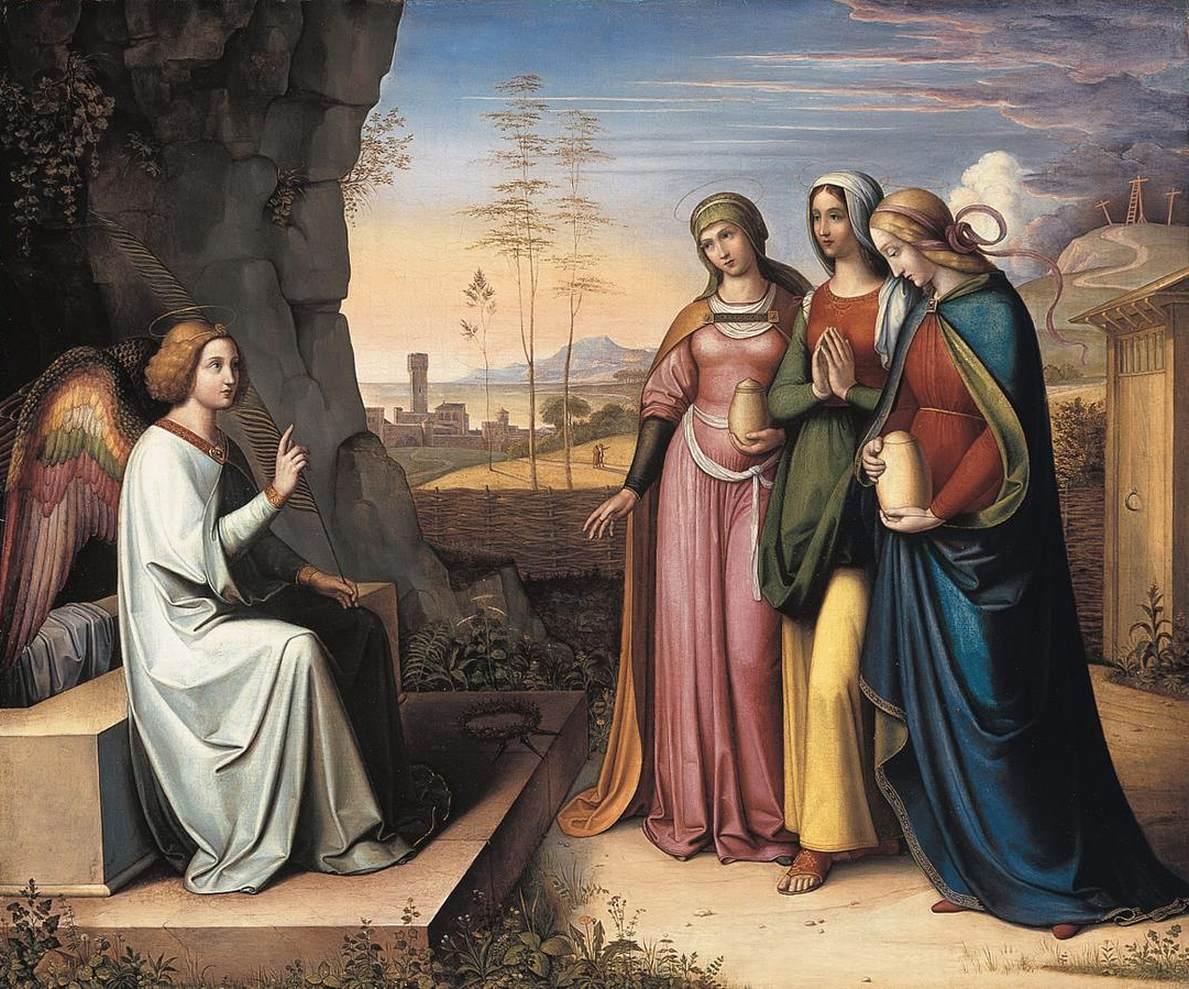 Peter von Cornelius. Die drei Marien am Grab. 1815-1822. Öl / Leinwand. 63,2 x 75,2cm