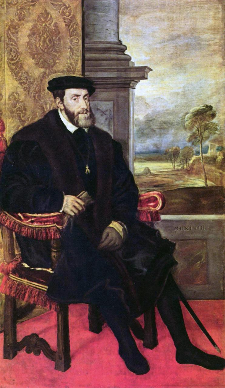 Tizian. Portrait von Kaiser Karl V. . 1548. Öl / Leinwand. 203,5 x 122cm