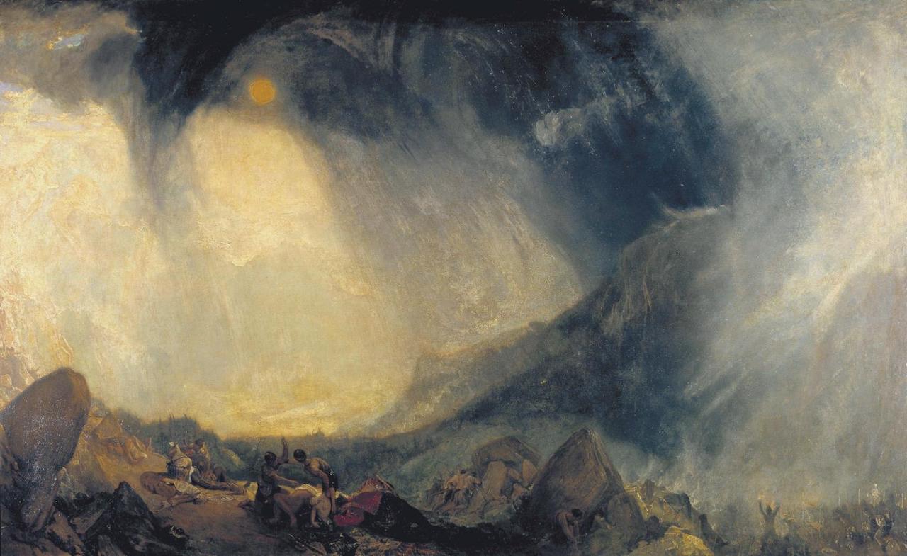 William Turner. Schneesturm: Hannibal und sein Heer überqueren die Alpen. 1810-1812. Öl / Leinwand. 144,7 x 236cm
